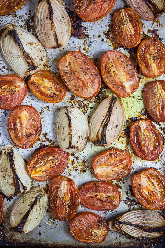 Oven roasted tomatoes and onions for spaghetti and meatballs. Photo by Irvin Lin of Eat the Love.