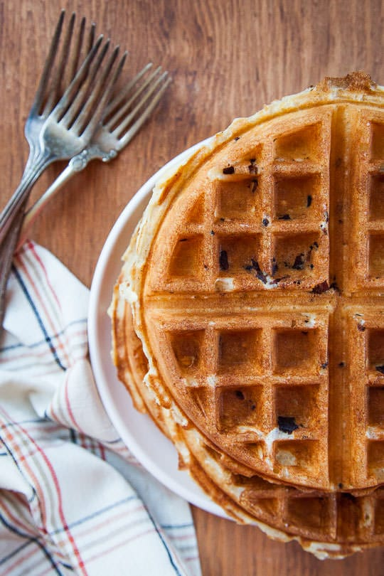 Belgian Waffles Recipe featuring a yeasted batter and bacon! Photo and recipe by Irvin Lin of Eat the Love.