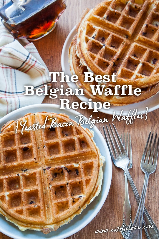 Best Belgian Waffle Recipe, with a yeasted batter and bacon! Recipe and Photo by Irvin Lin of Eat the Love.