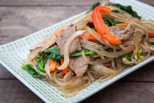 Japchae Recipe, an easy Korean dish. Photo and recipe by Irvin Lin of Eat the Love.