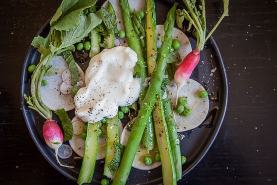 Asparagus salad with radishes, peas, yogurt and fresh mint recipe. Photo by Irvin Lin of Eat the Love.