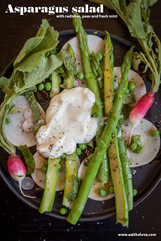 Asparagus salad with radishes, peas and fresh mint. Photo and recipe by Irvin Lin of Eat the Love.