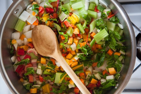 Cook the summer minestrone aromatic vegetables first to soften. Photo by Irvin Lin of Eat the Love.