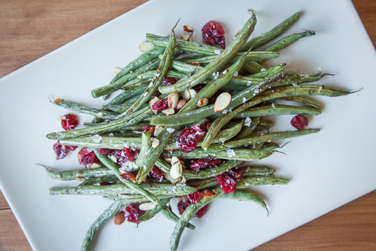 Oven Roasted Green Beans with Dried Cranberries and Sliced Almonds. A fast and easy recipe! Photo and recipe by Irvin Lin of Eat the Love.