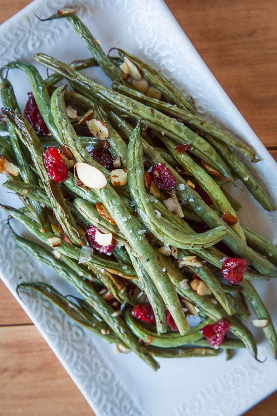 Roasted Green Beans with Dried Cranberries and Sliced Almonds. A quick and easy recipe! Photo and recipe by Irvin Lin of Eat the Love.