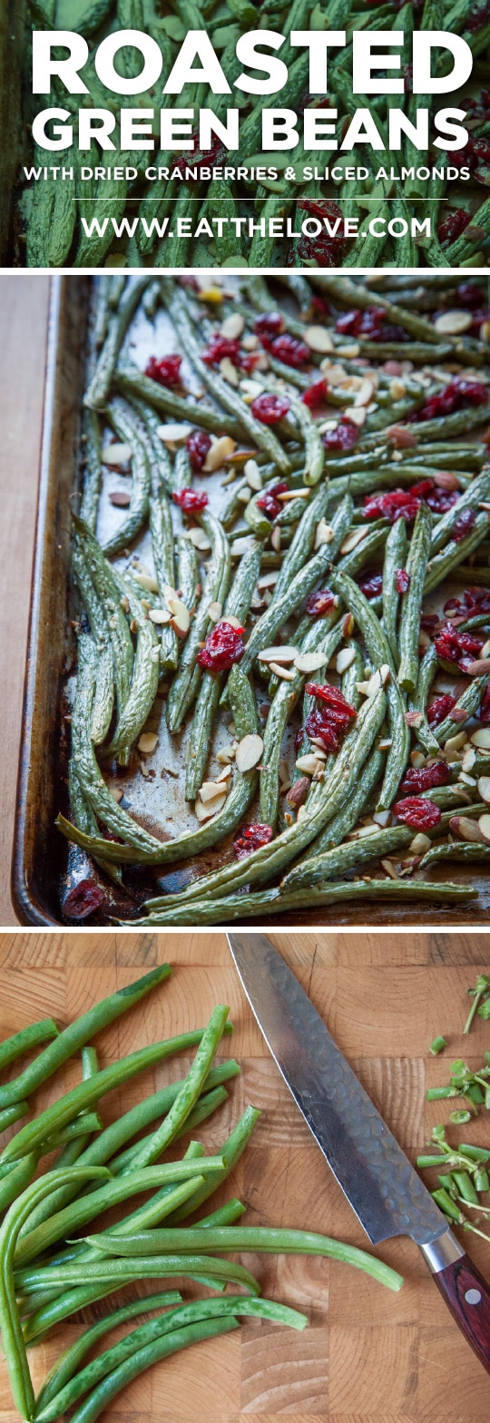 Roasted Green Beans with Dried Cranberries and Sliced Almonds. A fast and easy vegetarian vegetable side dish recipe! Photo and recipe by Irvin Lin of Eat the Love.