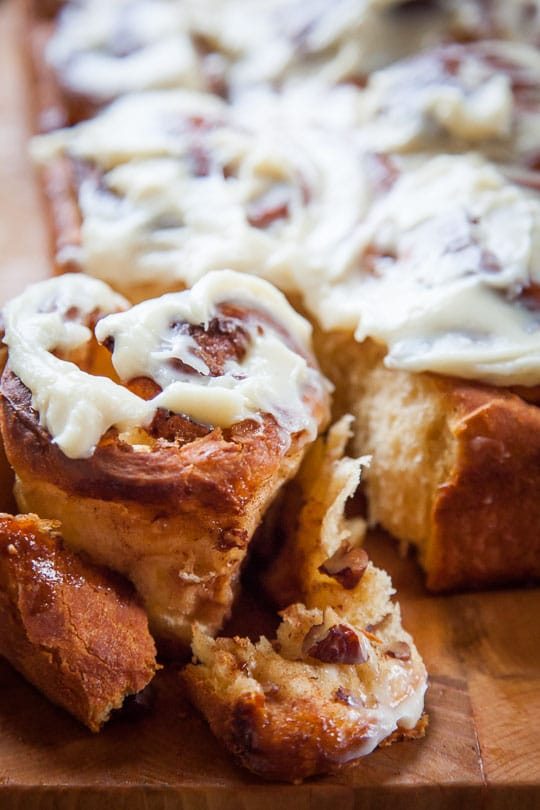 Sweet Potato Cinnamon Rolls Recipe with Pecans and Cream Cheese Frosting. Photo and recipe by Irvin Lin of Eat the Love.
