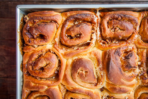 Bake until the sweet potato cinnamon rolls are golden brown on top! Process photos by Irvin Lin of Eat the Love.