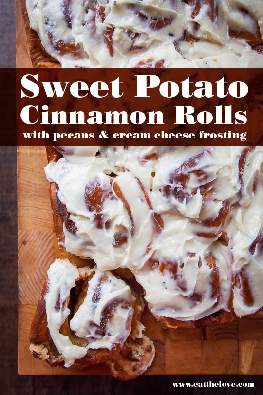 Sweet Potato Cinnamon Rolls with Pecans and Cream Cheese Frosting. Photo and recipe by Irvin Lin of Eat the Love.