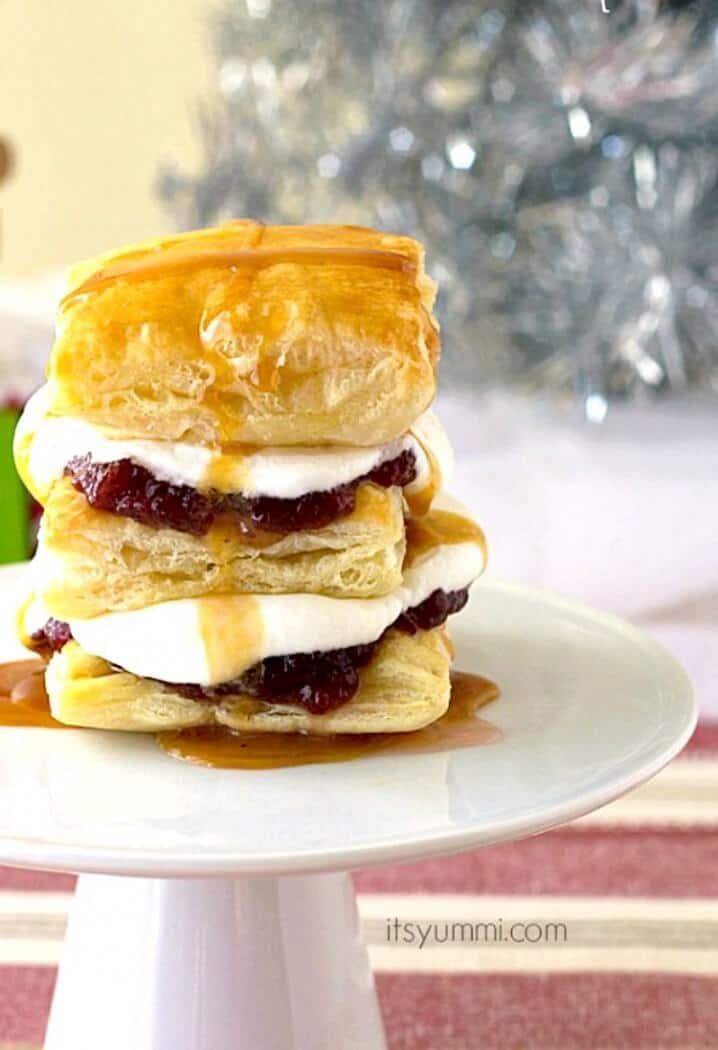 Cranberry Caramel Puff Pastry Dessert