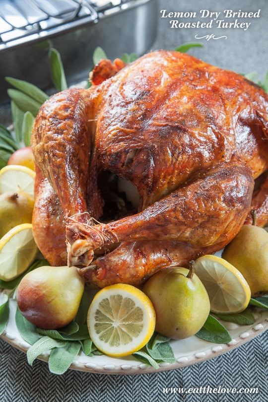 Lemon Dry Brined Roasted Turkey with Sage [Sponsored Post]