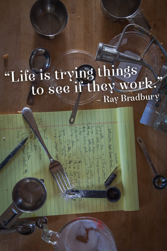 Life is trying things to see if they work. Quote by Ray Bradbury, photo and design by Irvin Lin of Eat the Love.