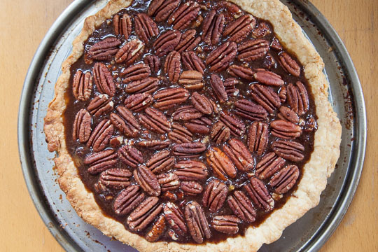 Place the whole pecans on top of the chocolate custard filling. Recipe and photo by Irvin Lin of Eat the Love.