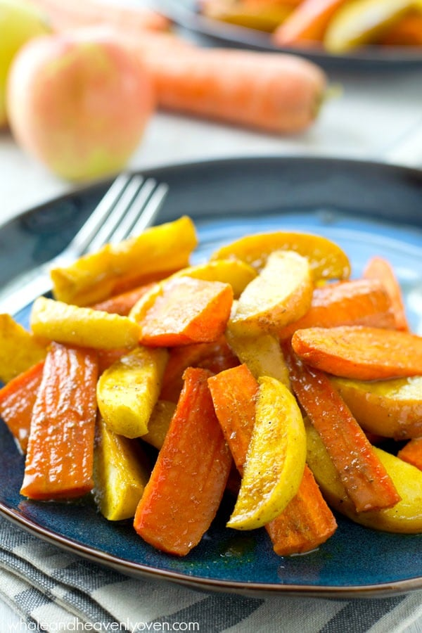 Moroccan Maple Roasted Carrots and Apples