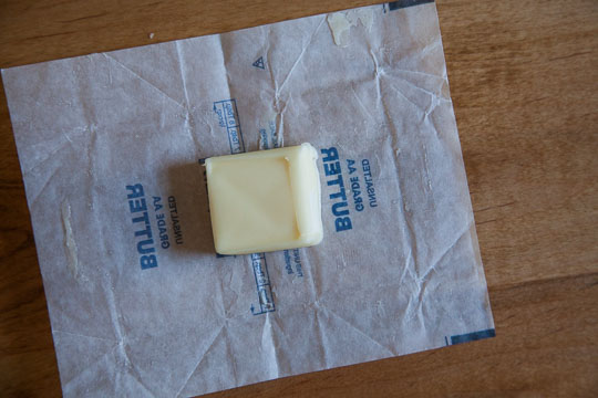 Place the butter inside an old butter wrapper or between parchment or wax paper. Photo and tip by Irvin Lin of Eat the Love.