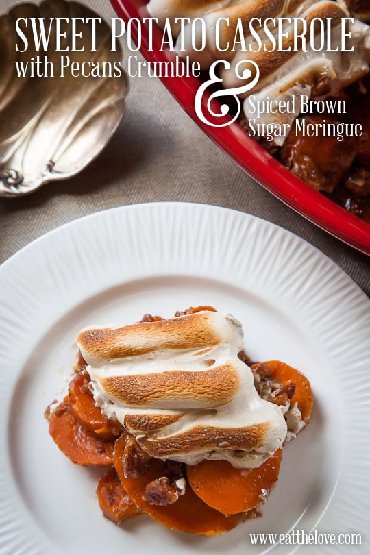 Sweet Potato Casserole with Meringue and Pecan Crumble. Photo and recipe by Irvin Lin of Eat the Love.