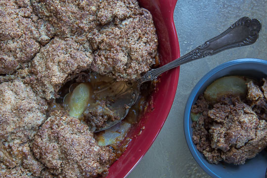 Pear Cobbler Recipe with Gingerbread Biscuits. Photo and recipe by Irvin Lin of Eat the Love.