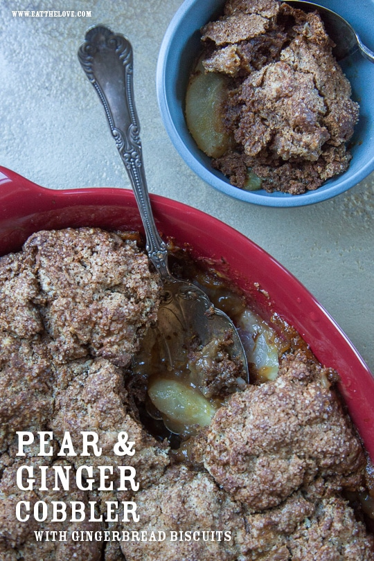 Pear Cobbler Recipe with Gingerbread Biscuits