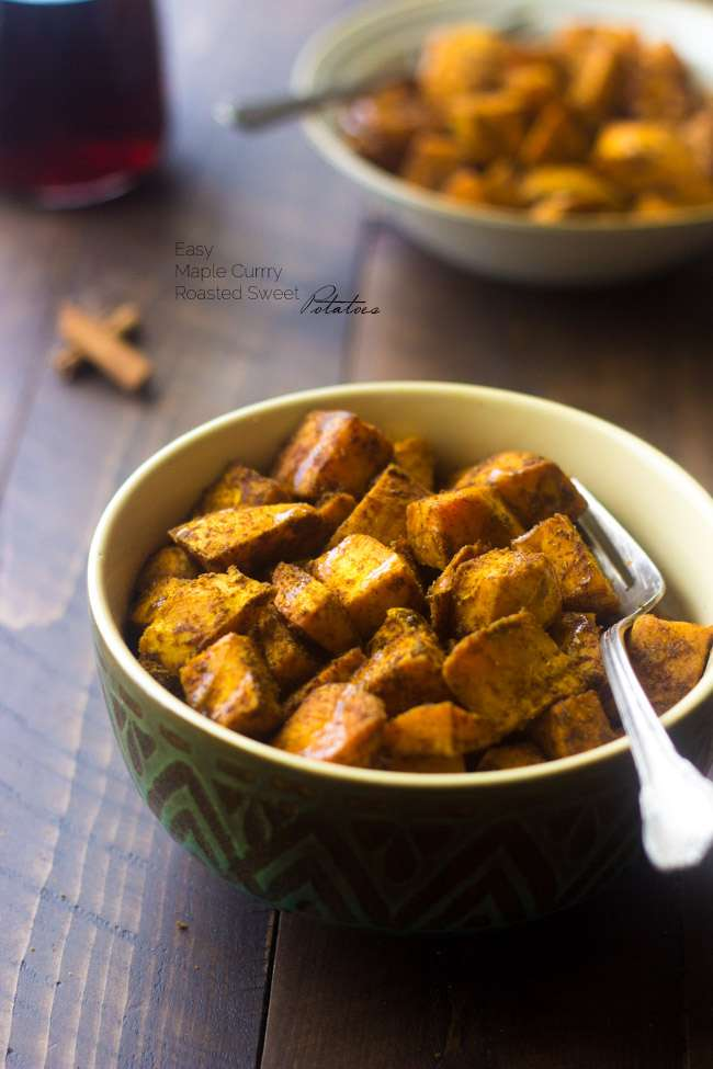 Maple Roasted Sweet Potatoes with Curry