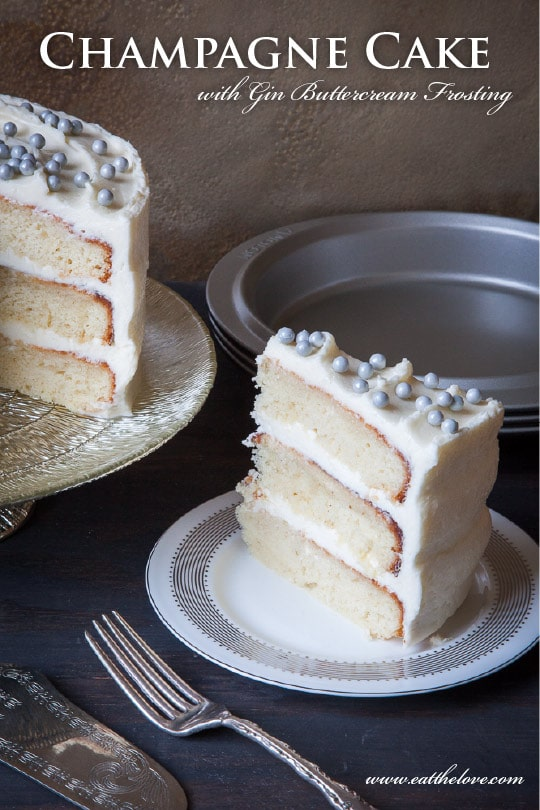 Champagne cake with Gin Buttercream Frosting. Photo and recipe by Irvin Lin of Eat the Love.
