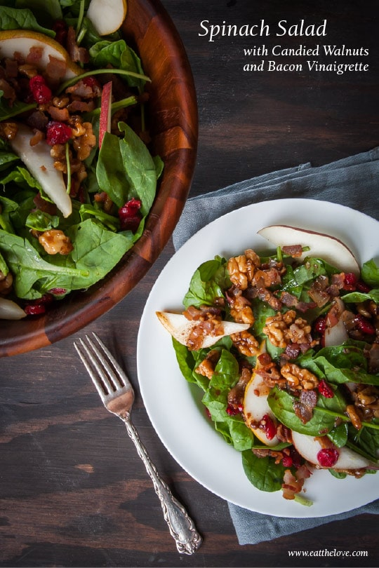 Spinach salad with candied walnuts and bacon vinaigrette. Photo and recipe by Irvin Lin of Eat the Love.