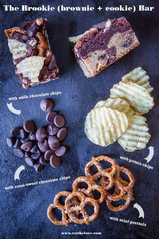 Brookie Recipe (brownie and cookie) with potato chips, pretzels and double chocolate chips. Photo and recipe by Irvin Lin of Eat the Love.