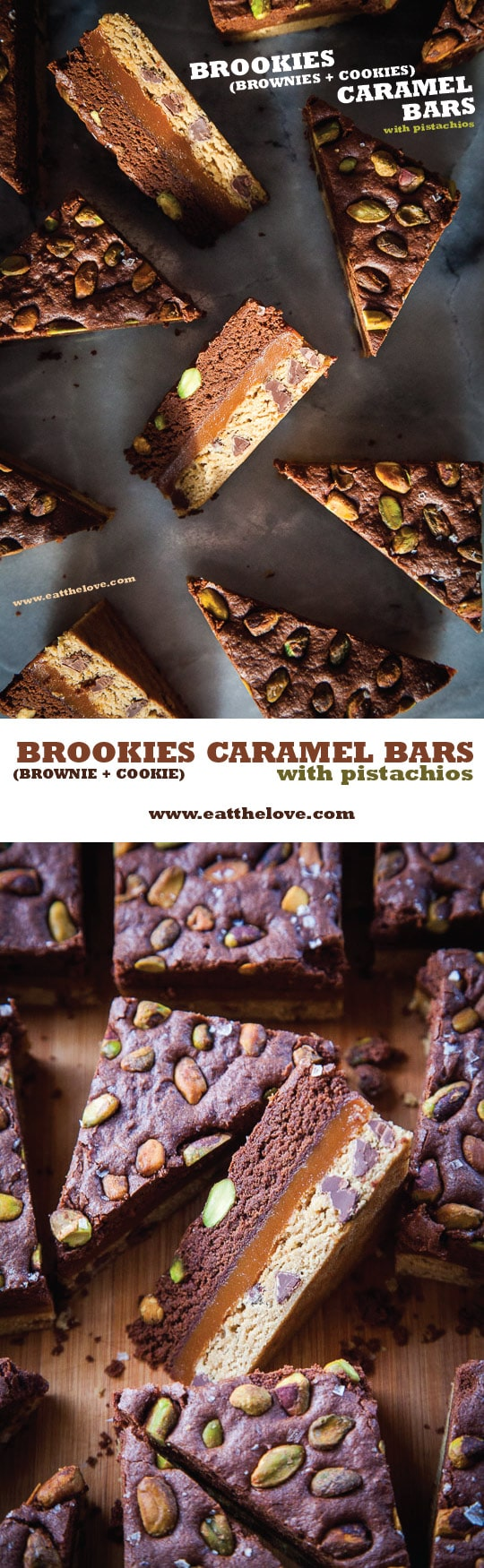 Brookies (Brownies + Cookies) Salted Caramel Bars with Pistachios. Easier to make than they look! Photo and recipe by Irvin Lin of Eat the Love.