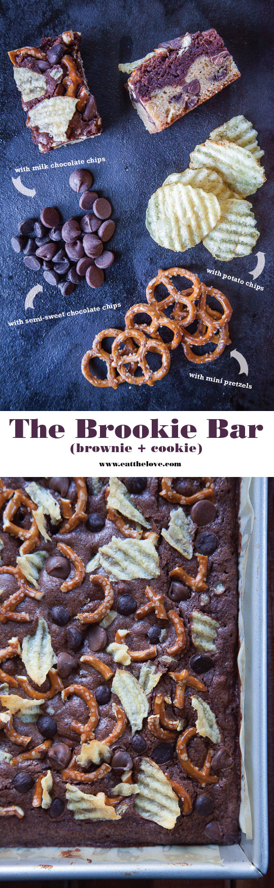 The Brookie Bar Recipe (a layered brownie and cookie bar) with potato chips, pretzels and two types of chocolate chips! Photo and recipe by Irvin Lin of Eat the Love.