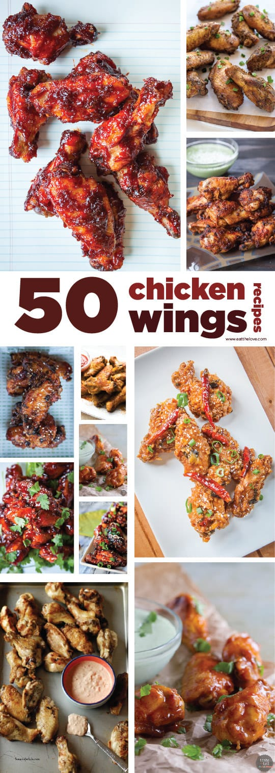 50 Chicken Wings Recipes! A Roundup by Irvin Lin of Eat the Love.