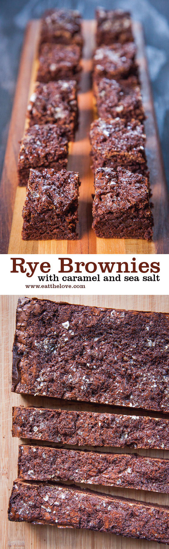 Rye Brownies with Caramel and Sea Salt. Photo and recipe by Irvin Lin of Eat the Love.