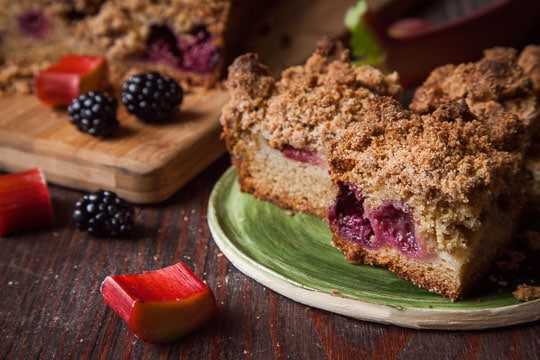 Rhubarb Coffee Cake with Blackberries and Crumb Topping. Photo and recipe by Irvin Lin of Eat the Love.