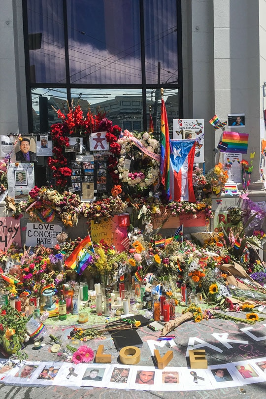 The memorial in the Castro for the victims of Orlando Pulse massacre. Photo by Irvin Lin of Eat the Love.