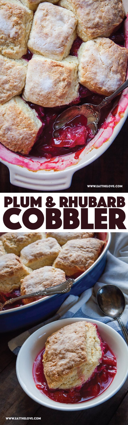 Plum and Rhubarb Cobbler, with step-by-step photos and instructions. Photo and recipe by Irvin Lin of Eat the Love.