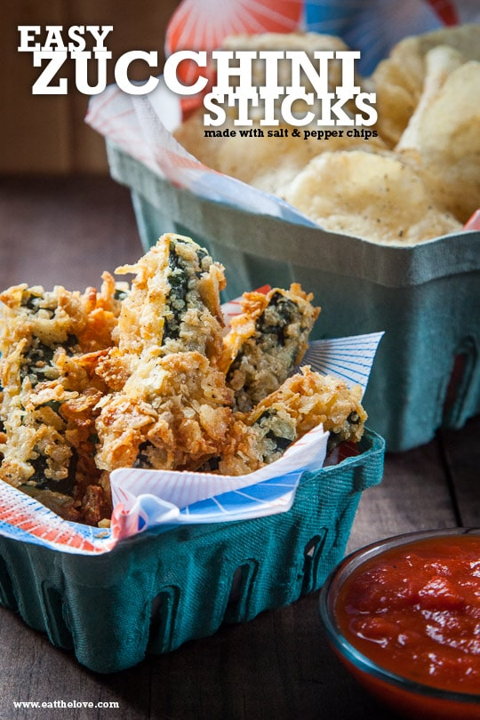 Potato Chip Zucchini Sticks with Marinara Sauce. Recipe by Irvin Lin of Eat the Love.