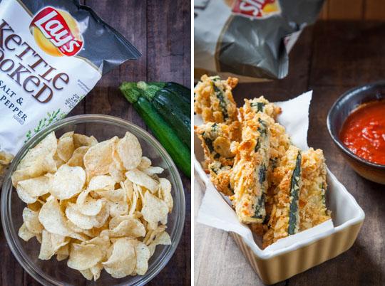Potato Chip Zucchini Sticks with Marinara Sauce. Recipe by Irvin Lin of Eat the Love.