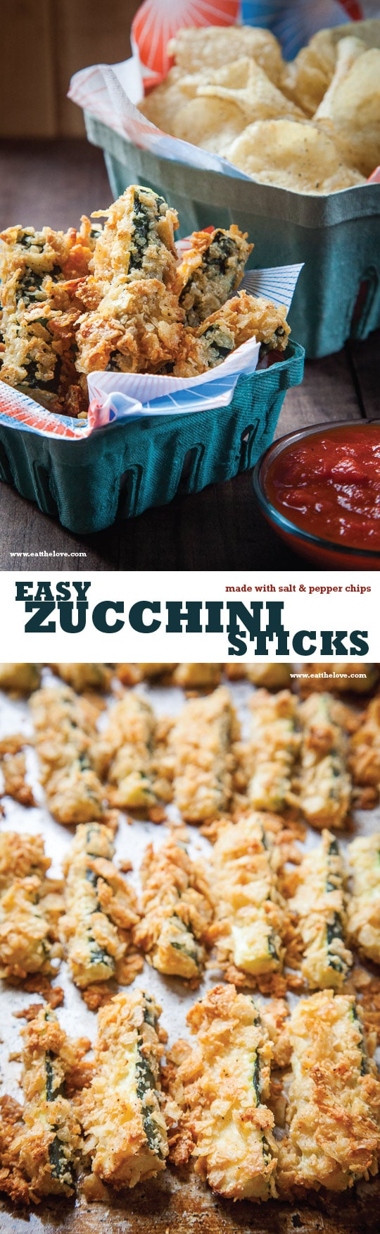 Easy and Fast Potato Chip Zucchini Sticks with Marinara Sauce. Recipe by Irvin Lin of Eat the Love.