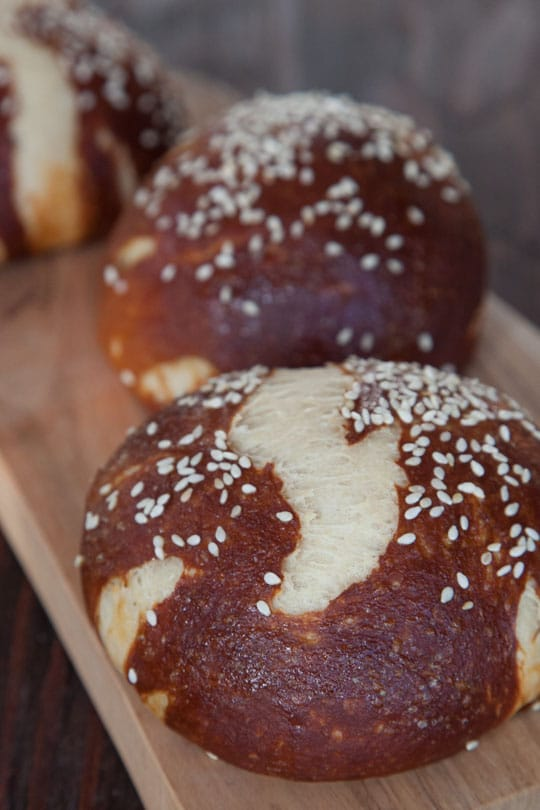 Pretzel Buns made with baking soda bath. Photo and recipe by Irvin Lin of Eat the Love.