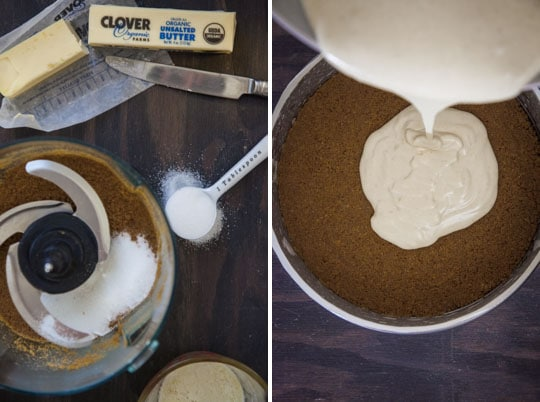 prepping the crust and pouring the cheescake batter in