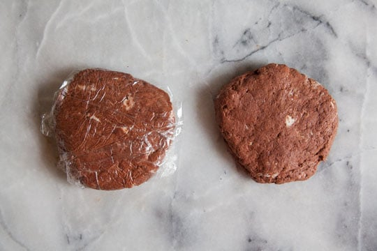 Divide dough into two small disks and wrap with plastic wrap.