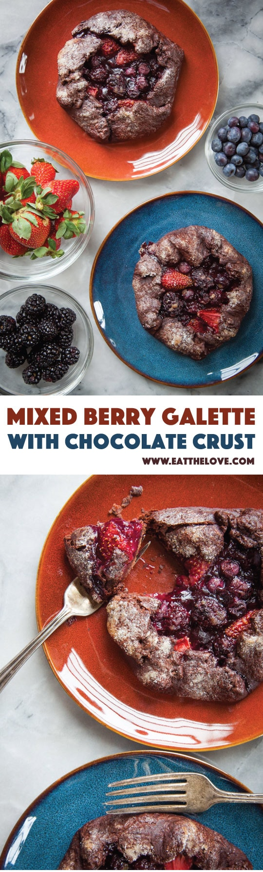 This easy to make mixed berry galette with chocolate crust is perfect for an intimate dinner for two! Photo and recipe by Irvin Lin of Eat the Love.