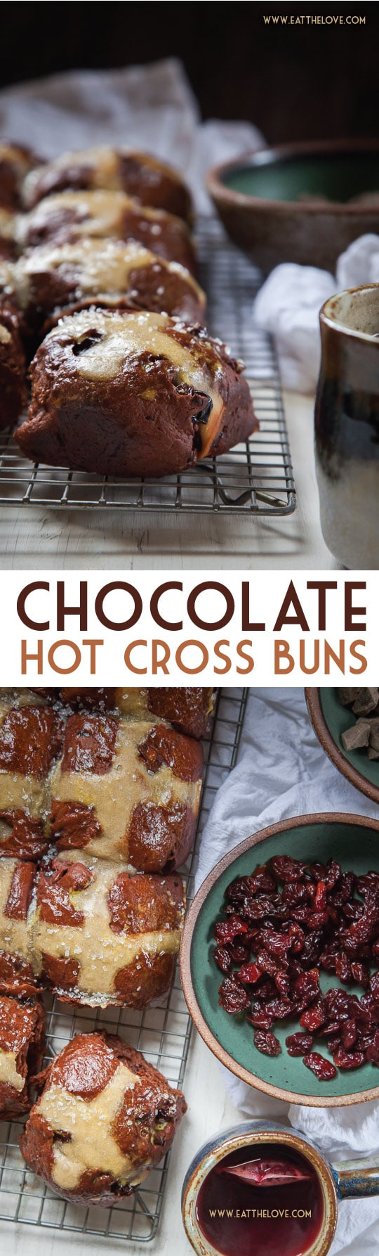 These Chocolate Hot Cross Buns are packed filled with dried cherries and chunks of chopped dark chocolate! Recipe by Irvin Lin of Eat the Love.
