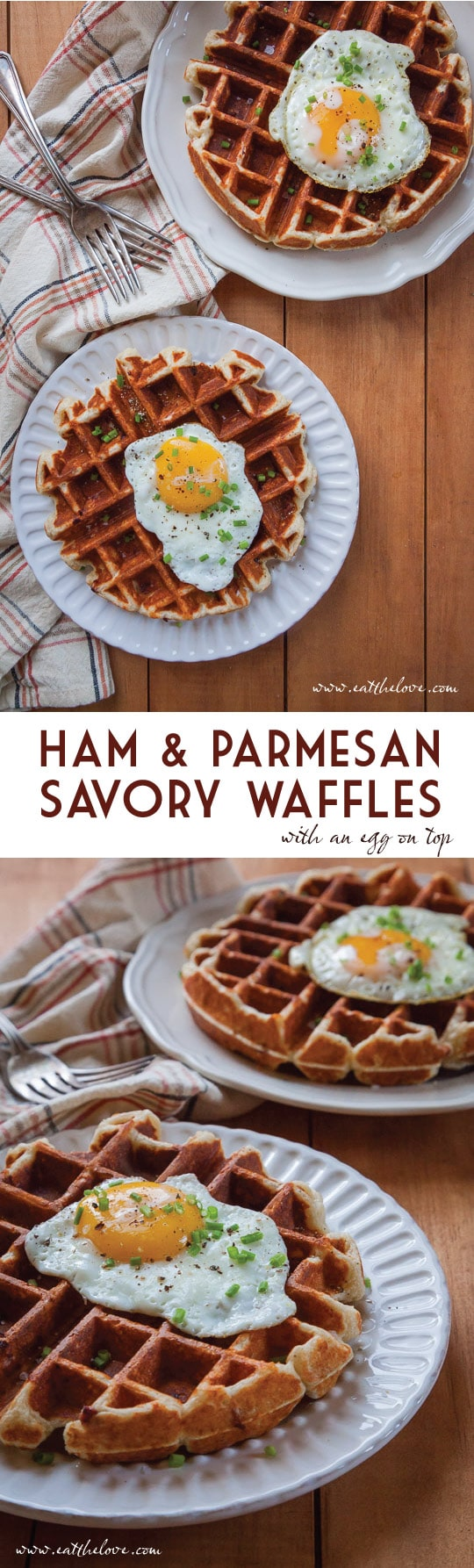 Ham and Parmesan Waffles with a fried egg on top! Super easy to make but super fancy pants to serve!
