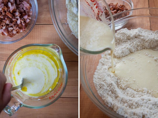 Beat the wet ingredients together then add to the dry ingredients.