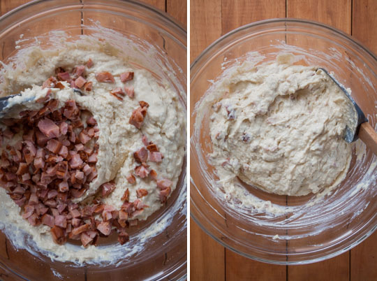Add ham and fold into batter.