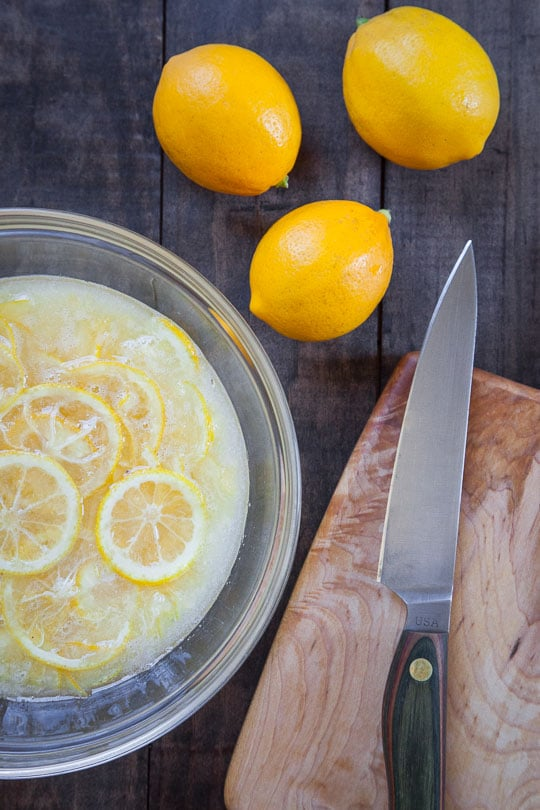 Meyer lemons soaking in sugar. Photo by Irvin Lin of Eat the Love.