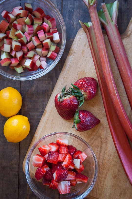 Strawberries and rhubarb and Meyer lemons! Photo by Irvin Lin of Eat the Love.