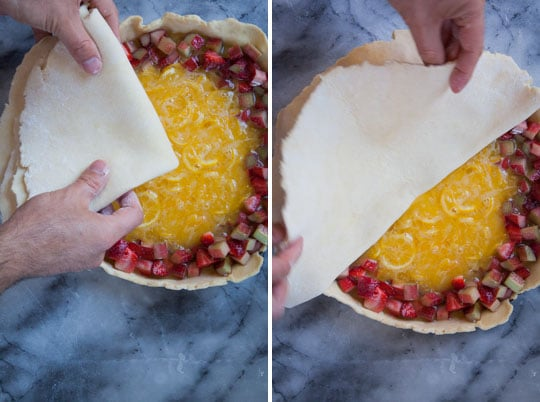 Place the second crust over the filling.