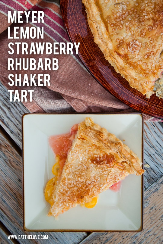 Meyer Lemon Shaker Tart with Strawberries and Rhubarb. Photo and recipe by Irvin Lin of Eat the Love.