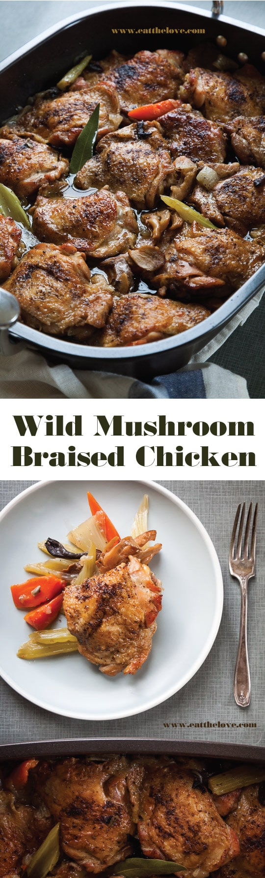 Super easy flavorful Mushroom Braised Chicken recipe! Photo and recipe by Irvin Lin of Eat the Love.