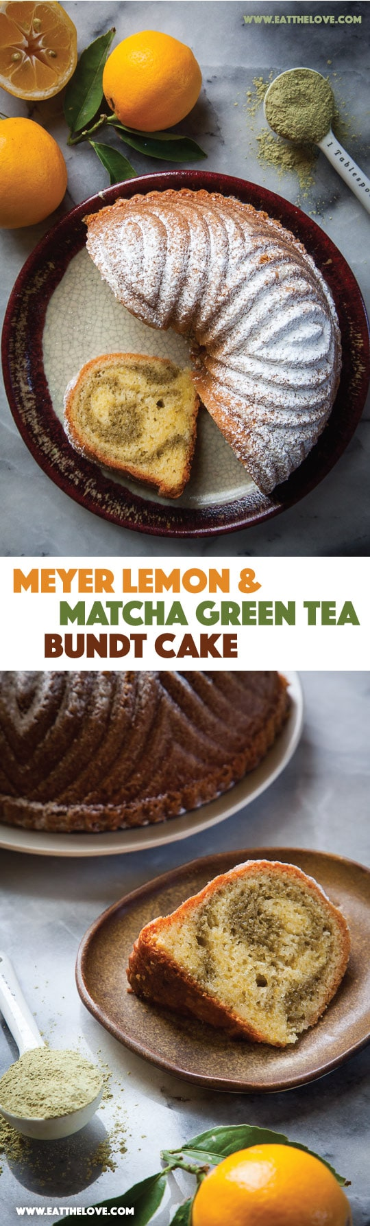 Meyer lemon and matcha green tea bundt cake. Photo and recipe by Irvin Lin of Eat the Love.